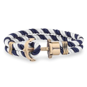Bransoletka PAUL HEWITT Phrep Brass Navy Blue/White