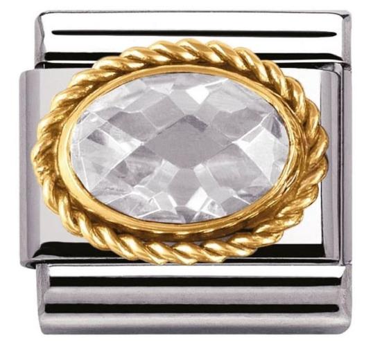 Biała Cubic Zirconia ze złotym warkoczem Gold