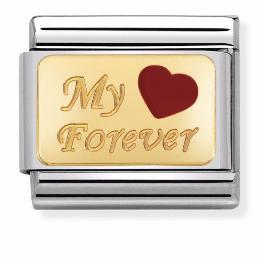 """Blaszka """"My Forever"""" z Sercem Gold"""